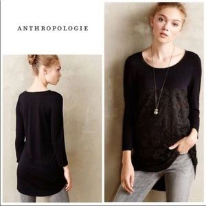 Anthro Meadow Rue Black Lace Peasant Tee Shirt Top
